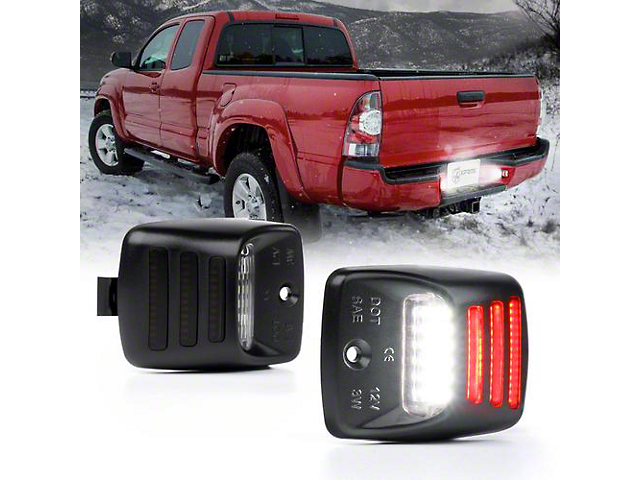 White LED License Plate Light Assembly with Red Running Lamp (05-15 Tacoma)