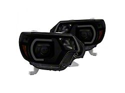 Light Bar DRL Projector Headlights; Black Housing; Smoked Lens (12-15 Tacoma)