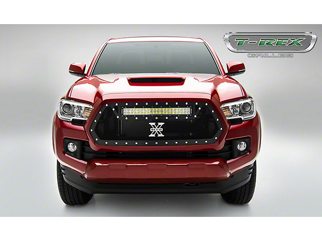 T-REX Torch Series Upper Grille Insert with 20-Inch LED Light Bar; Black (16-17 Tacoma)