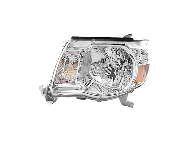 Headlight; Chrome Housing; Clear Lens; Driver Side; CAPA Certified Replacement Part (05-11 Tacoma, Excluding Sport Package)