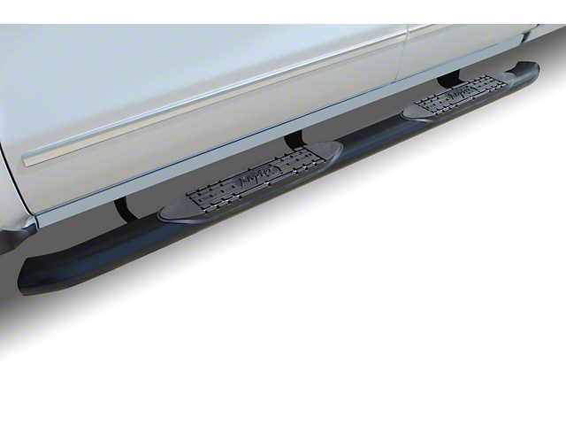 Raptor Series 5 Inch OE Style Curved Oval Side Step Bars; Black (05-20 Tacoma Access Cab)