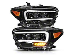 Plank Style LED Projector Headlights; Black Housing; Clear Lens (16-21 Tacoma TRD)