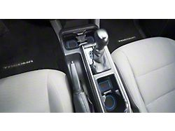 Center Console Cup Holder Inserts with QI Phone Charger Insert; Black/Blue (16-21 Tacoma w/ Automatic Transmission)