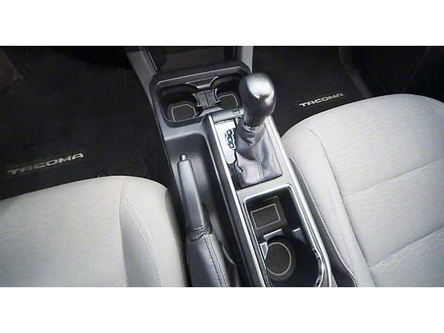 Center Console Cup Holder Inserts without QI Phone Charger Insert; Black/Gray (16-21 Tacoma w/ Automatic Transmission)
