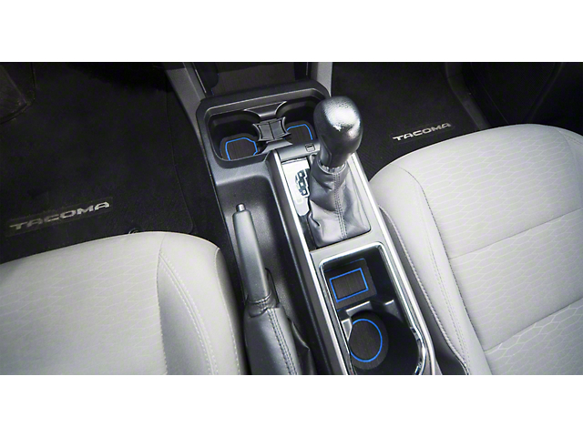 Center Console Cup Holder Inserts; Black/Blue (16-21 Tacoma w/ Automatic Transmission)