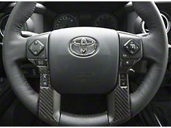 4-Button Steering Wheel Accent Trim; Domed Carbon Fiber (14-21 Tundra)