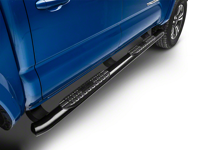 4 in. Pro Traxx Oval Side Step Bars - Black (05-20 Tacoma Double Cab)