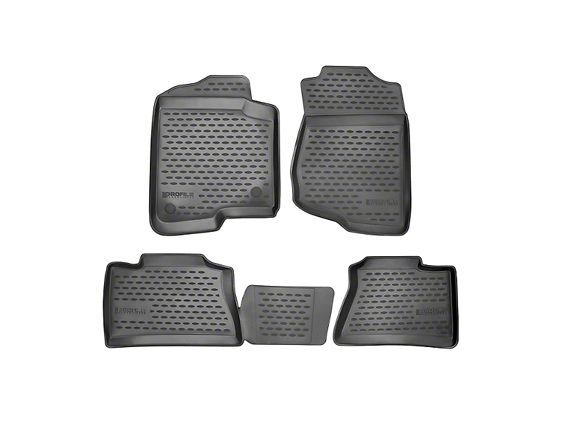 Profile Front and Second Row Floor Mats; Black (12-20 Tacoma Double Cab)