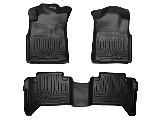 WeatherBeater Front & 2nd Seat Floor Liners - Footwell Coverage - Black (05-15 Tacoma Double Cab)