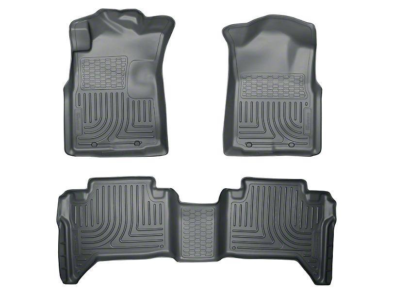 Husky WeatherBeater Front & 2nd Seat Floor Liners - Footwell Coverage - Gray (05-15 Tacoma Double Cab)