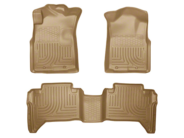 Husky WeatherBeater Front & 2nd Seat Floor Liners - Footwell Coverage - Tan (05-15 Tacoma Double Cab)
