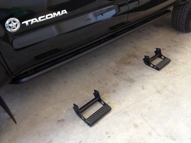 N-Fab Cab Length RKR Side Rails with Detachable Steps; Textured Black (05-15 Tacoma Double Cab)
