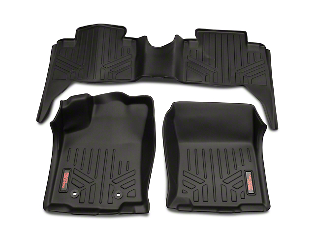 Rough Country Heavy Duty Front & Rear Floor Mats - Black (16-21 Tacoma Double Cab)