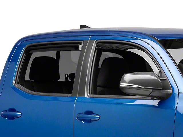 Weathertech Window Deflectors; Front and Rear; Dark Smoke (16-21 Tacoma Double Cab)