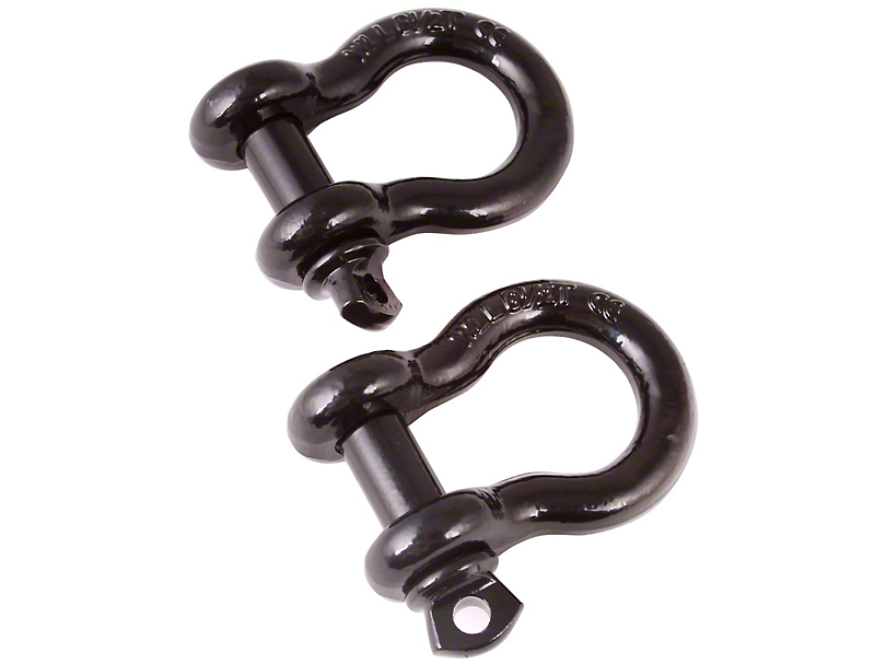 Rugged Ridge 3/4 in. D-Ring Shackles - Black