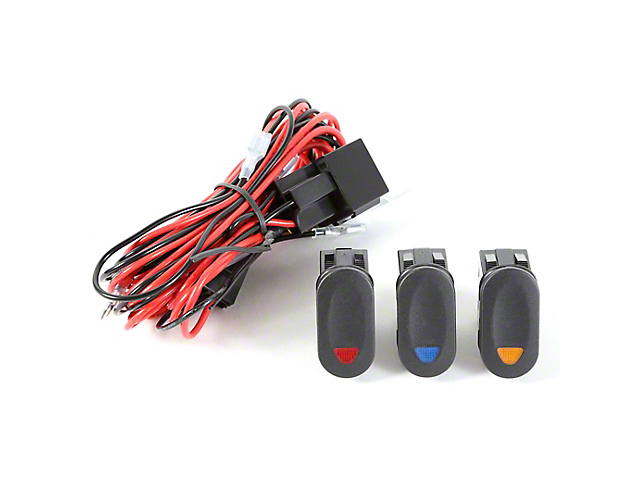 Rugged Ridge Wiring Harness for 3 HID Offroad Fog Lights w/ 3 Rocker Switches