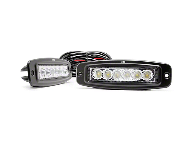 Rough Country 6-Inch Flush Mount LED Light Bars; Flood Beam