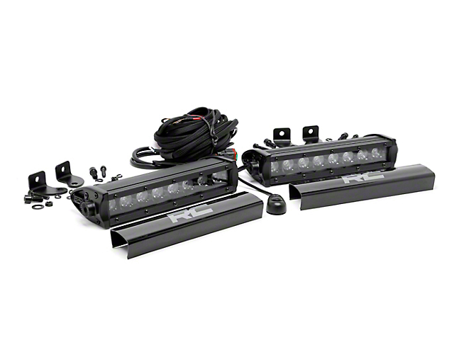Rough Country 8 in. Black Series Single Row LED Light Bars - Spot Beam - Pair