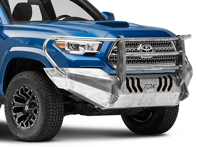 Throttle Down Kustoms Standard Front Bumper with Grille Guard; Bare Metal (16-21 Tacoma)