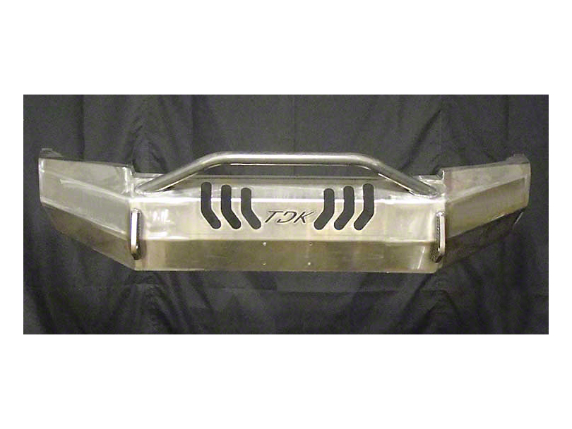 Throttle Down Kustoms Push Bar Front Bumper with Dual LED Cube Light Holes; Bare Metal (05-11 Tacoma)