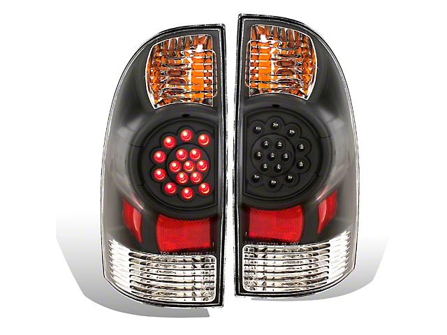 LED Tail Lights; Black (05-06 Tacoma)