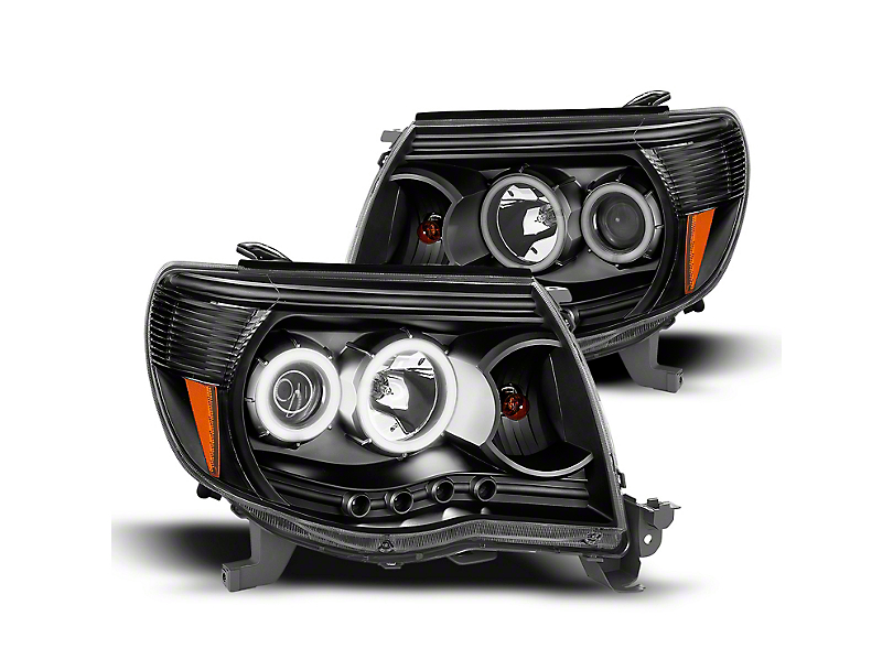 Super White LED Halo Projector Headlights; Black (05-09 Tacoma)