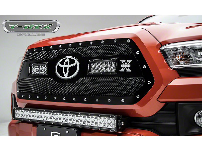 T-REX Torch Series Upper Grille Insert w/ 6 in. LED Light Bars - Black (18-20 Tacoma, Excluding TRD Pro)