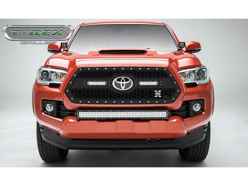 T-REX Laser Torch Series Upper Grille Insert with 6-Inch LED Light Bars; Black (18-20 Tacoma, Excluding TRD Pro)