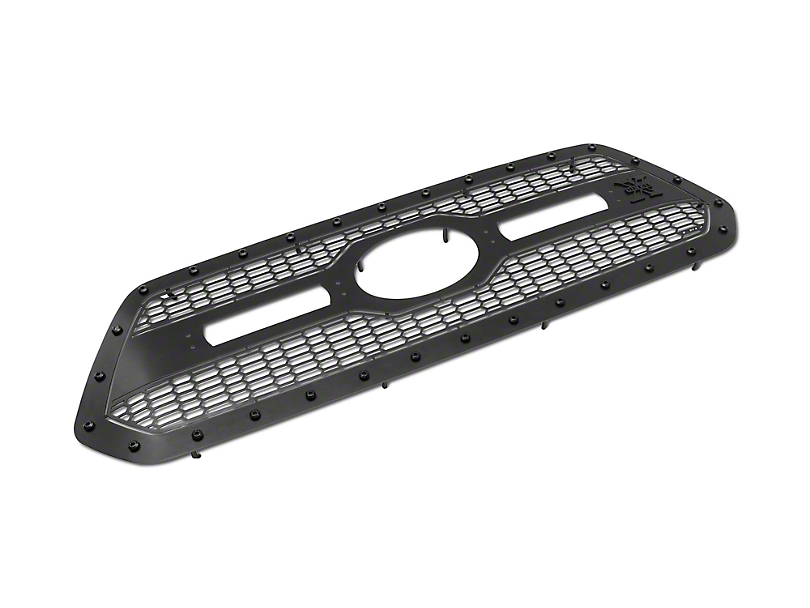 T-REX Stealth Laser Torch Series Upper Grille Insert with 6-Inch LED Light Bars; Black (18-20 Tacoma, Excluding TRD Pro)