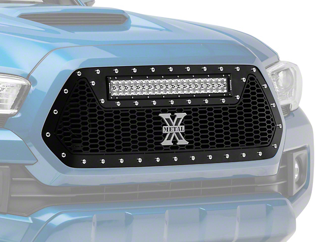 T-REX Laser Torch Series Upper Grille Insert with 20-Inch LED Light Bar; Black (16-17 Tacoma)