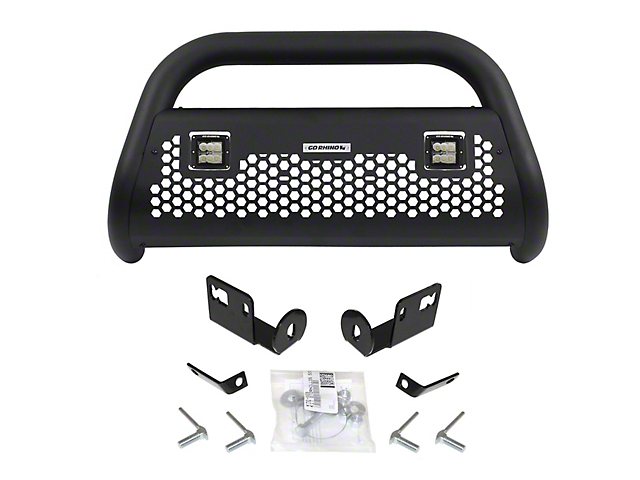 RC2 LR Bull Bar with Skid Plate and Two LED Cube Lights; Textured Black (16-20 Tacoma)