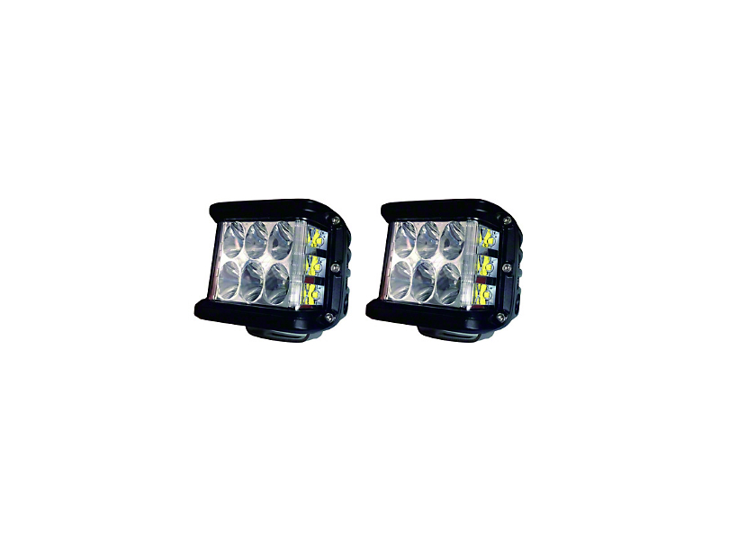Cali Raised LED 27W Side Shooter LED Pod Lights w/ Low Profile Hood Hinge Mounting Brackets (05-15 Tacoma)