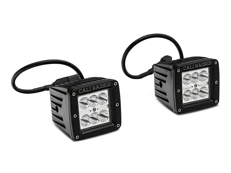 Cali Raised LED 3x2-Inch 18W Amber LED Fog Lights with Mounting Brackets; Spot Beam (16-20 Tacoma)