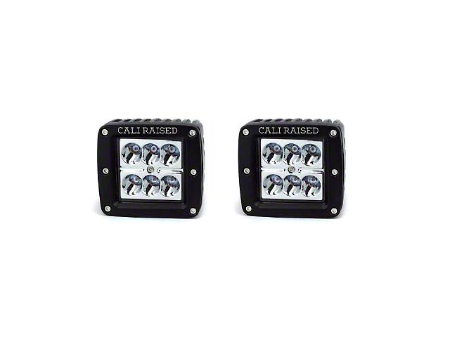 Cali Raised LED 3x2 in. 18W Amber LED Fog Lights w/ Mounting Brackets - Spot Beam (05-11 Tacoma)