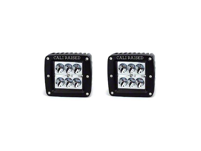Cali Raised LED 3x2 in. 18W Amber LED Pod Lights w/ Low Profile Hood Hinge Mounting Brackets (16-20 Tacoma)