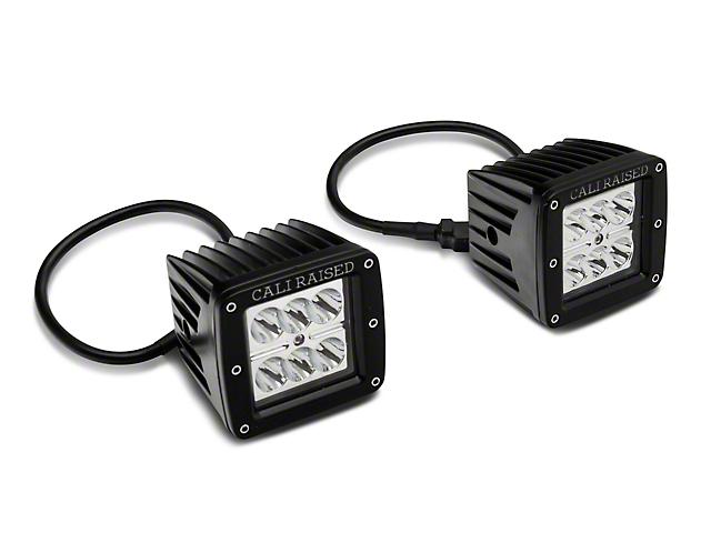 Cali Raised LED 3x2 in. 18W LED Fog Lights w/ Mounting Brackets - Spot Beam (16-20 Tacoma)