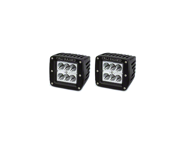 Cali Raised LED 3x2 in. 18W LED Pod Lights w/ Low Profile Hood Hinge Mounting Brackets (16-20 Tacoma)