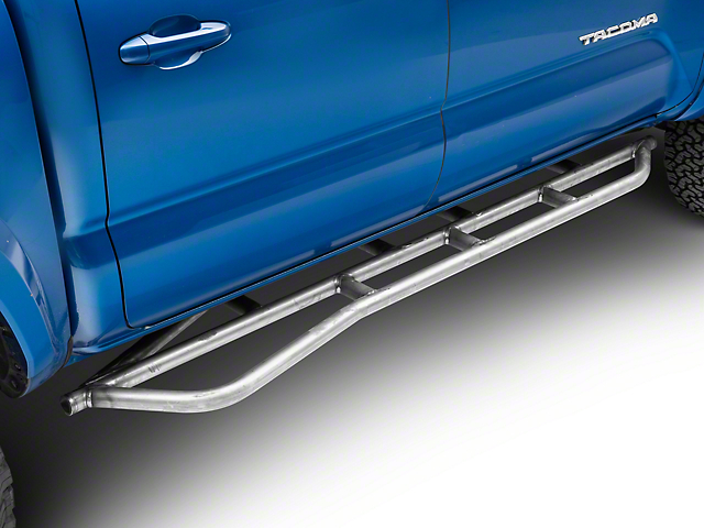 Cali Raised LED 0 Degree Wheel-to-Wheel Weld-On Step Rock Sliders with Kickout; Raw (05-20 Tacoma)