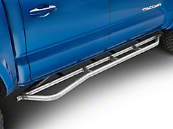 Cali Raised LED Step Edition 0 Degree Wheel-to-Wheel Bolt-On Step Rock Sliders with Kickout; Raw (05-21 Tacoma)