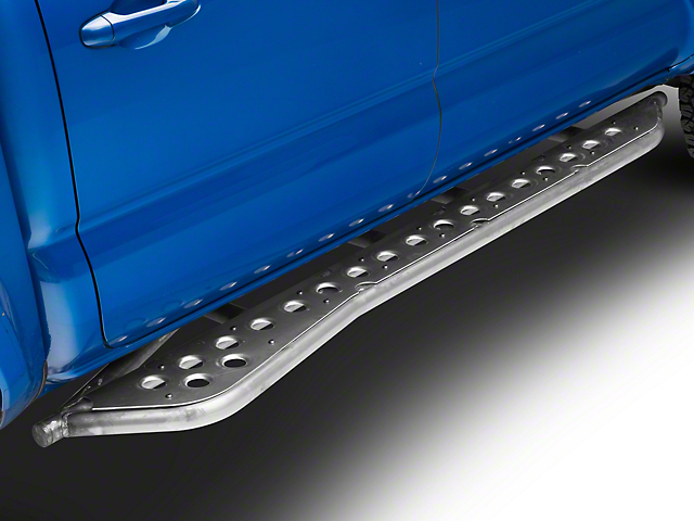 Cali Raised LED 0 Degree Wheel-to-Wheel Bolt-On Step Rock Sliders with Kickout and Dimpled Filler Plates; Raw (05-20 Tacoma)