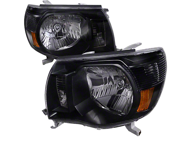Euro Crystal Headlights; Matte Black Housing; Clear Lens (05-11 Tacoma)