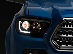 TRD Style Projector Headlights with DRL; Black Housing; Clear Lens (16-21 Tacoma w/ Factory LED DRL)
