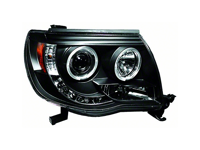 Halo Projector Headlights; Black (05-11 Tacoma)