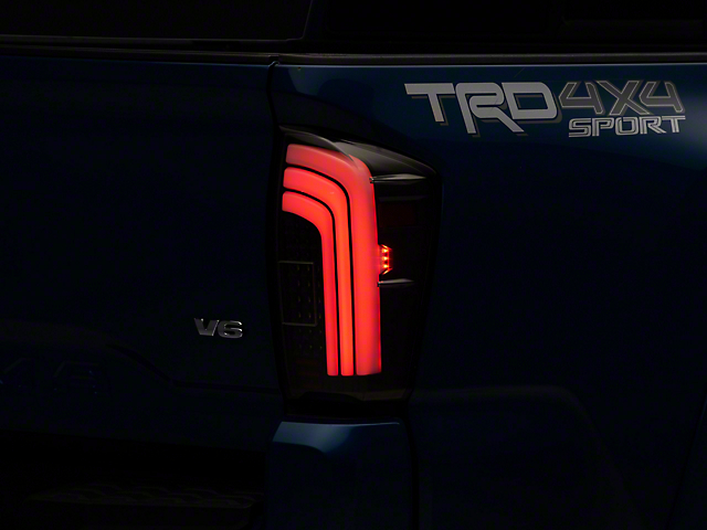 Light Bar Sequential LED Tail Lights; Black (16-20 Tacoma)