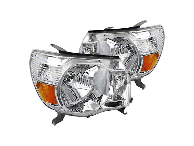 Euro Crystal Headlights; Chrome Housing; Clear Lens (05-11 Tacoma)