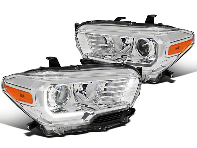 TRD Style Projector Headlights with DRL; Chrome Housing; Clear Lens (16-21 Tacoma w/ Factory LED DRL)