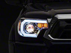 Light Bar DRL Projector Headlights; Chrome Housing; Clear Lens (12-15 Tacoma)