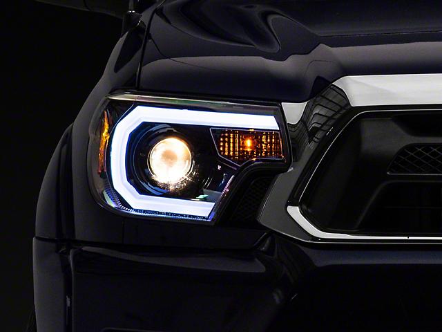 Light Bar DRL Projector Headlights; Jet Black Housing; Clear Lens (12-15 Tacoma)