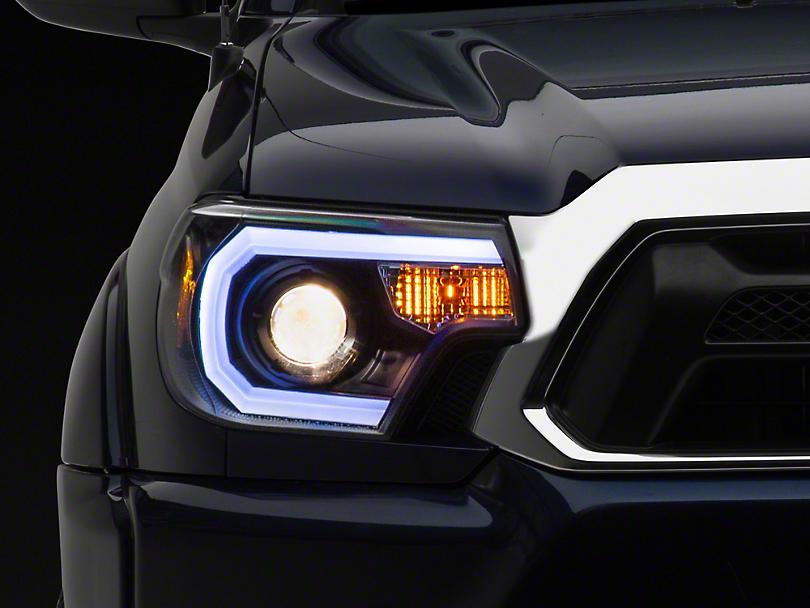 Light Bar DRL Projector Headlights - Black (12-15 Tacoma)