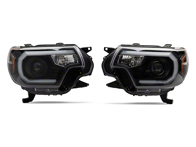 Light Bar DRL Projector Headlights; Black (12-15 Tacoma)